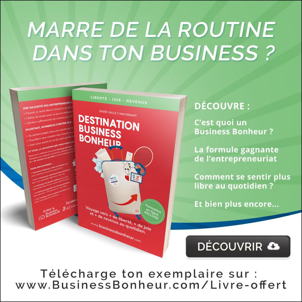 Téléchargement offert de mon nouveau livre intitulé Destination Business Bonheur