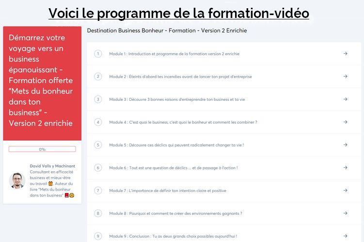 Programme de la formation vidéo V2 enrichie
